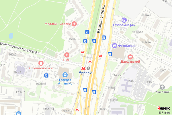 Ремонт телевизоров Метро Аннино на яндекс карте
