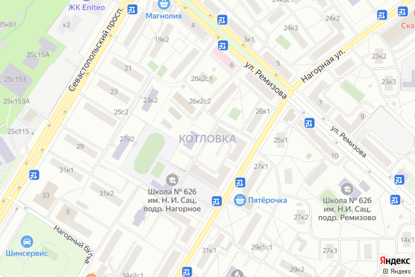 Ремонт телевизоров Район Котловка на яндекс карте