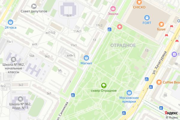 Ремонт телевизоров Улица Санникова на яндекс карте