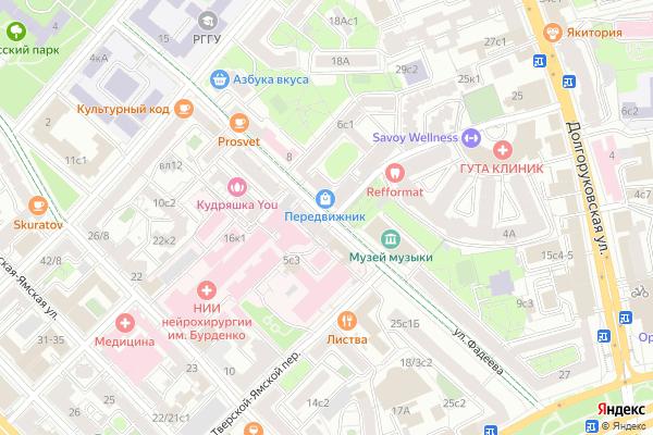 Ремонт телевизоров Улица Фадеева на яндекс карте