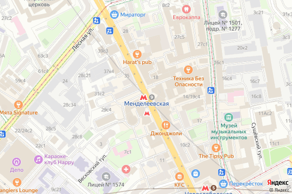 Ремонт телевизоров Метро Менделеевская на яндекс карте