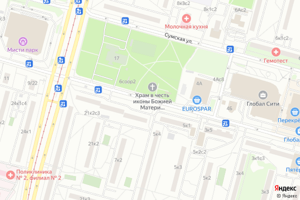 Ремонт телевизоров Улица Днепропетровская на яндекс карте