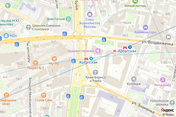Ремонт телевизоров Метро Арбатская на яндекс карте