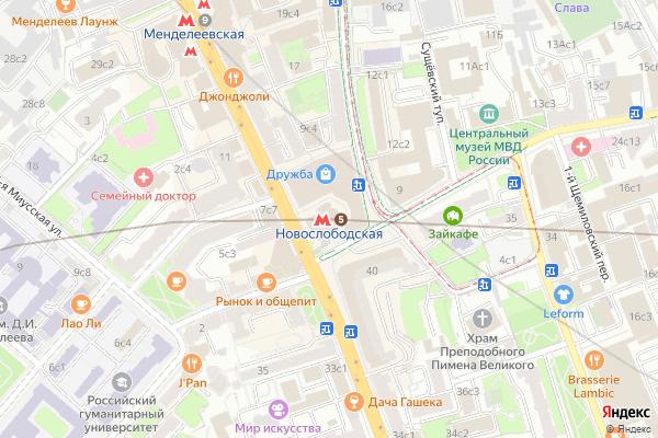 Ремонт телевизоров Метро Новослободская на яндекс карте