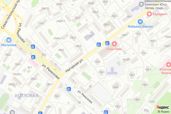 Ремонт телевизоров Улица Нагорная на яндекс карте