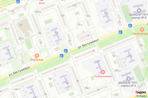 Ремонт телевизоров Улица Бестужевых на яндекс карте