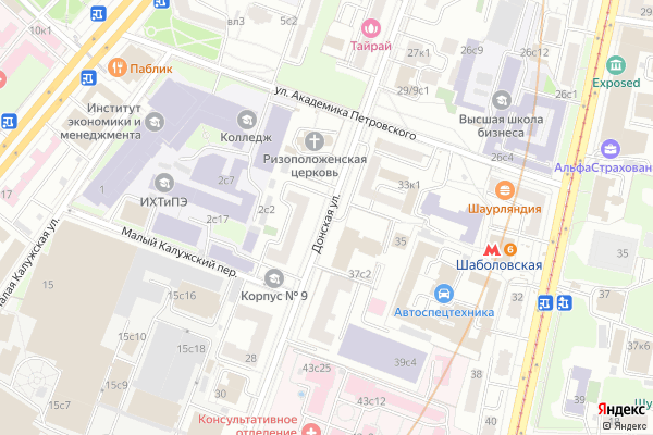 Ремонт телевизоров Улица Донская на яндекс карте