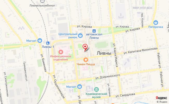 Карта расположения пункта доставки Ростелеком в городе Ливны