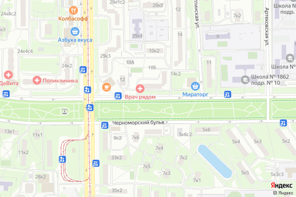 Ремонт телевизоров Черноморский бульвар на яндекс карте