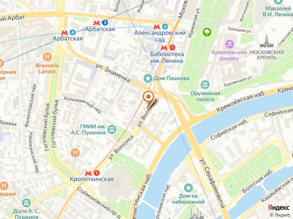 Остановка «Боровицкая пл.», улица Волхонка (1001926) (Москва)