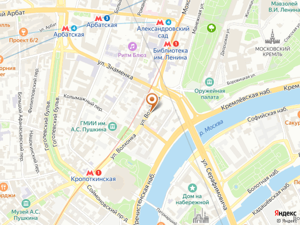 Остановка «Боровицкая пл.», улица Волхонка (1001927) (Москва)