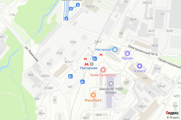 Ремонт телевизоров Метро Нагорная на яндекс карте