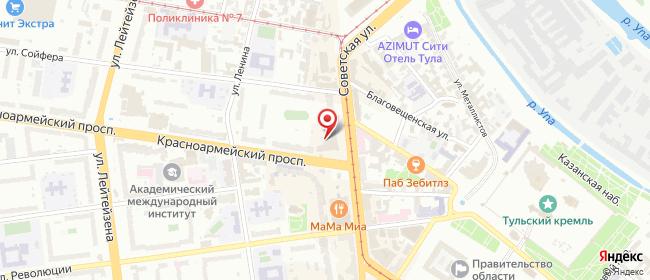 Карта расположения пункта доставки Тула Красноармейский в городе Тула
