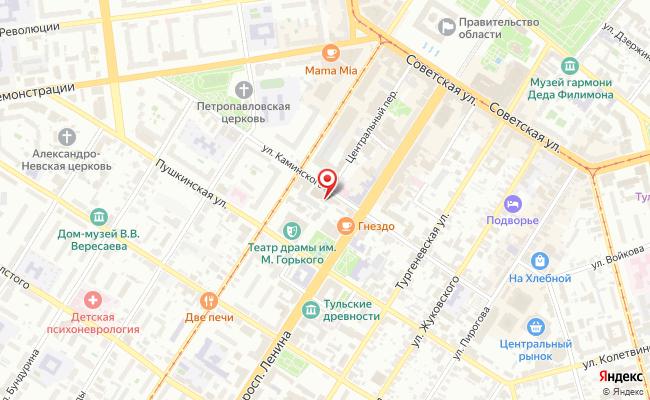 Карта расположения пункта доставки Тула Каминского в городе Тула