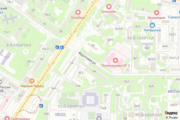 Ремонт телевизоров Улица Фруктовая на яндекс карте