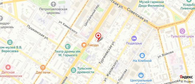Карта расположения пункта доставки Ростелеком в городе Тула