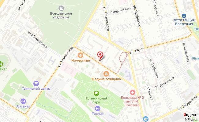 Карта расположения пункта доставки Тула Михеева в городе Тула