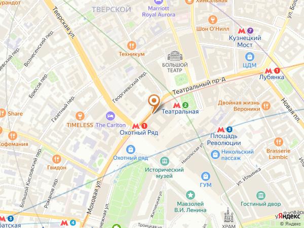 Остановка «Манежная пл.», улица Охотный Ряд (1001372) (Москва)