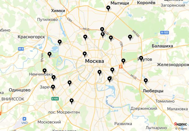 Замена лобового стекла ВАЗ 2112 на карте Москвы
