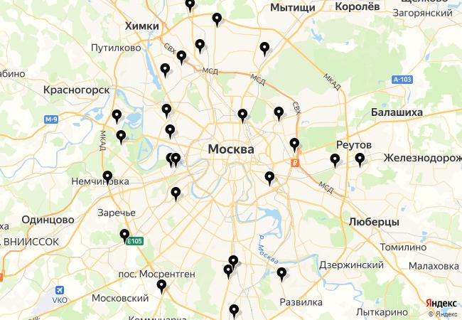 Автозвук на карте Москвы