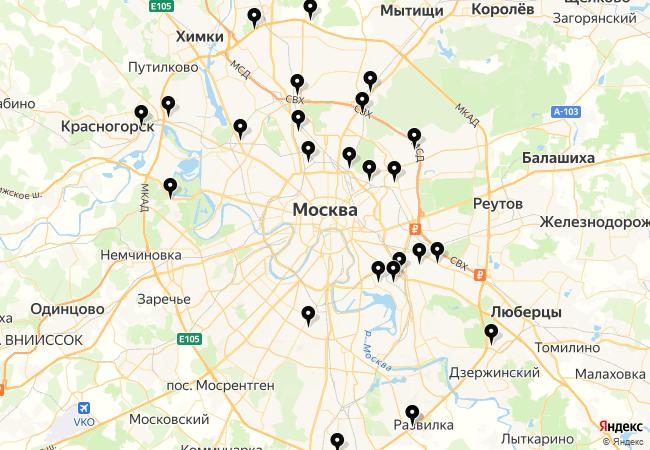 Замена лобового стекла Рено Меган 2 на карте Москвы