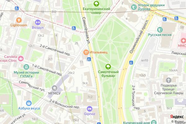 Ремонт телевизоров Улица Самотечная на яндекс карте