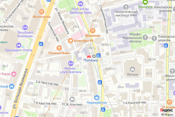 Ремонт телевизоров Метро Полянка на яндекс карте
