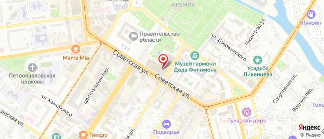 Карта расположения пункта доставки Тула Советская в городе Тула