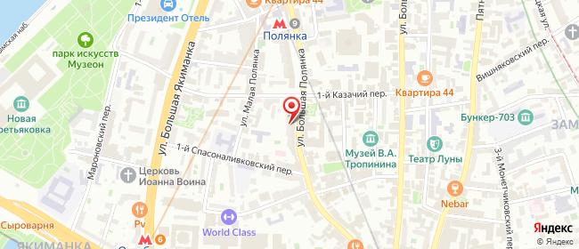Карта расположения пункта доставки Москва Полянка Б. в городе Москва