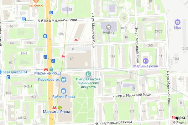 Ремонт телевизоров Улица 2 я Марьиной Рощи на яндекс карте