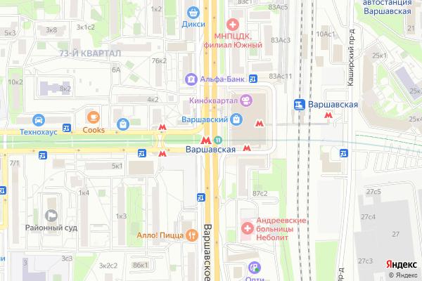 Ремонт телевизоров Метро Варшавская на яндекс карте