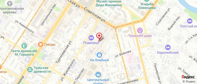Карта расположения пункта доставки Тула Пирогова в городе Тула