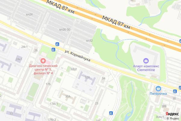 Ремонт телевизоров Улица Корнейчука на яндекс карте