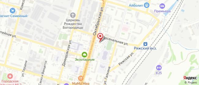 Карта расположения пункта доставки Тула Октябрьская в городе Тула