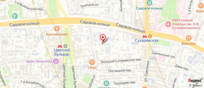 Карта расположения пункта доставки Москва Трубная в городе Москва