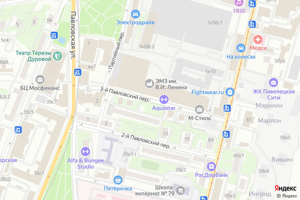 Ремонт телевизоров 3 й Павловский переулок на яндекс карте