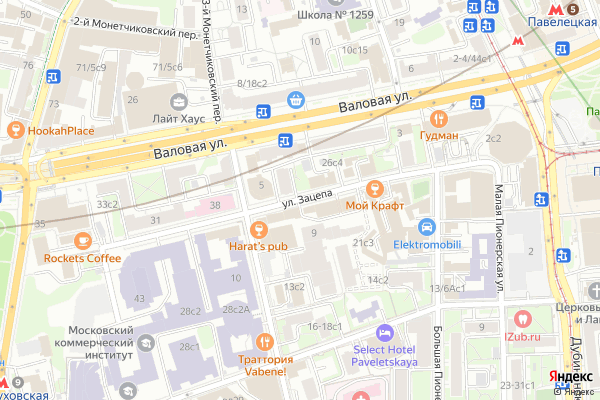 Ремонт телевизоров Улица Зацепа на яндекс карте