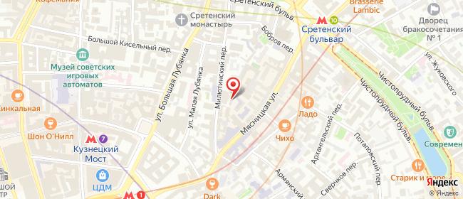 Карта расположения пункта доставки Москва Мясницкая в городе Москва