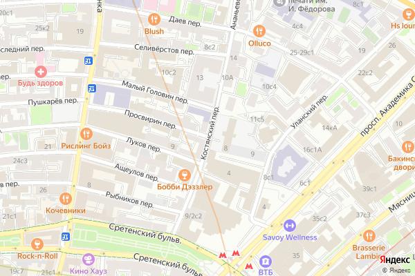 Ремонт телевизоров Костянский переулок на яндекс карте