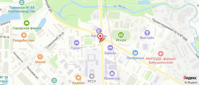 Карта расположения пункта доставки Москва Сельскохозяйственная в городе Москва