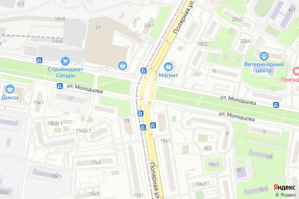 Ремонт телевизоров Улица Молодцова на яндекс карте