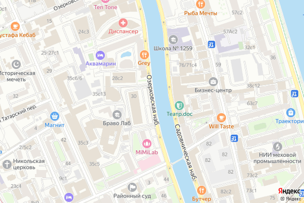Ремонт телевизоров Озерковская набережная на яндекс карте