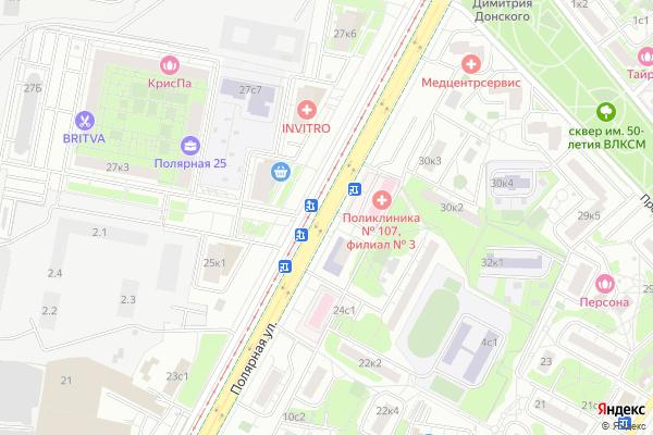 Ремонт телевизоров Улица Полярная на яндекс карте