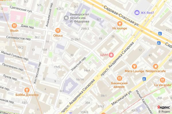 Ремонт телевизоров Уланский переулок на яндекс карте