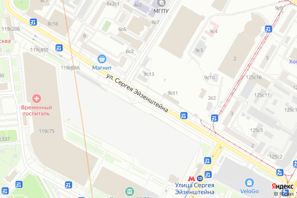 Ремонт телевизоров Улица Сергея Эйзенштейна на яндекс карте