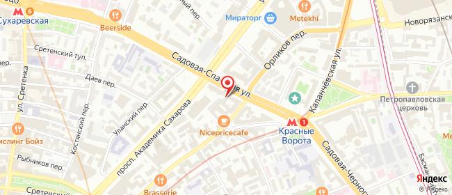 Карта расположения пункта доставки Москва Садовая-Спасская в городе Москва