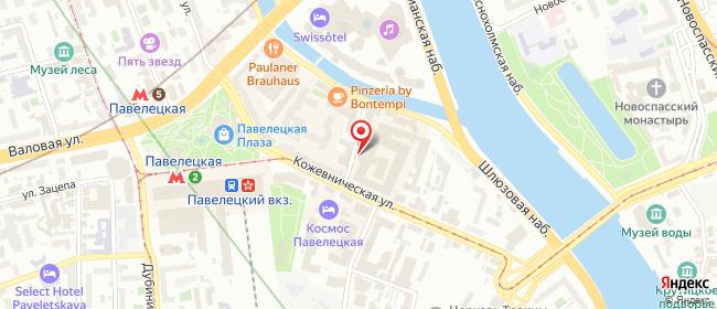 Карта расположения пункта доставки Москва Кожевническая в городе Москва