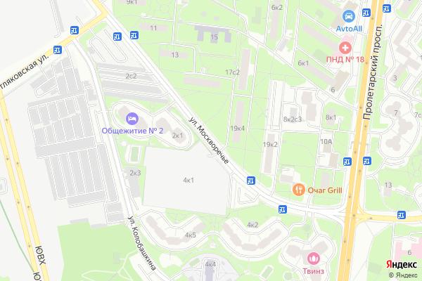 Ремонт телевизоров Улица Москворечье на яндекс карте