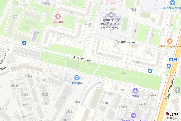 Ремонт телевизоров Улица Чичерина на яндекс карте