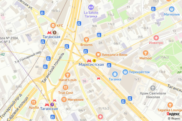 Ремонт телевизоров Метро Марксистская на яндекс карте